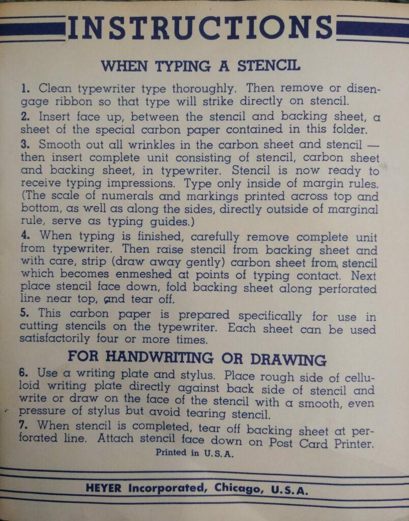 Instructions accompanying Heyer Model 60